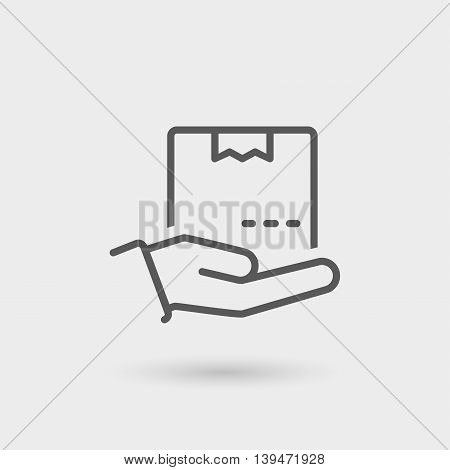 delivery thin line icon isolated with shadow