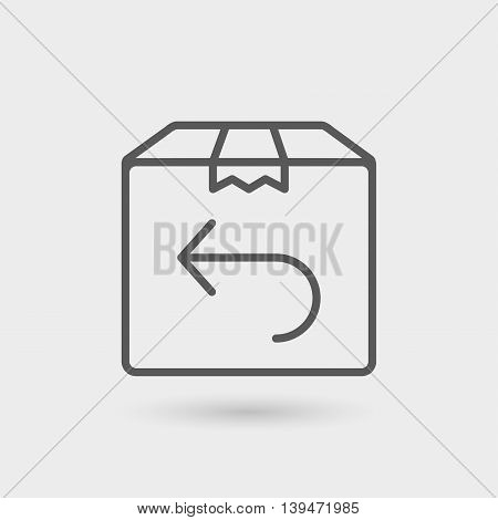return shipping thin line icon isolated with shadow