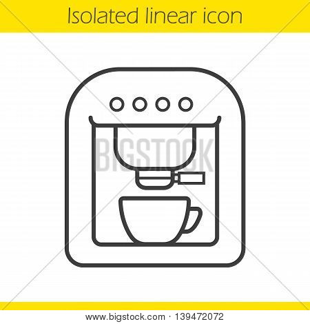 Coffee machine linear icon. Espresso machine thin line illustration. Coffee maker contour symbol. Vector isolated outline drawing