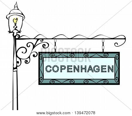Copenhagen retro vintage lamppost pointer. Copenhagen Capital Denmark tourism travel.