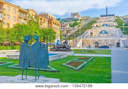 YEREVAN ARMENIA - MAY 29 2016: The Cafesjian sculpture garden located adjacent to Cascade famous stairway and the viewpoint on May 29 in Yerevan.