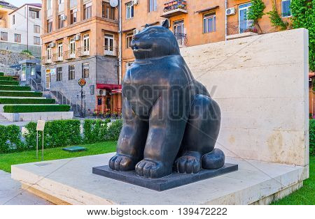YEREVAN ARMENIA - MAY 29 2016: The Botero's giant cat in Cafesjian sculpture garden in the city center on May 29 in Yerevan.