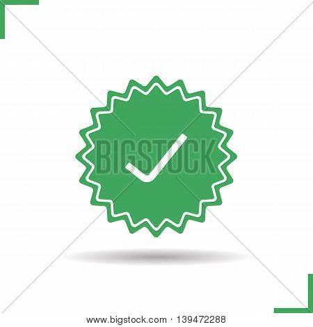 Approved sticker icon. Drop shadow confirmation silhouette symbol. Accept banner. Vector isolated illustration
