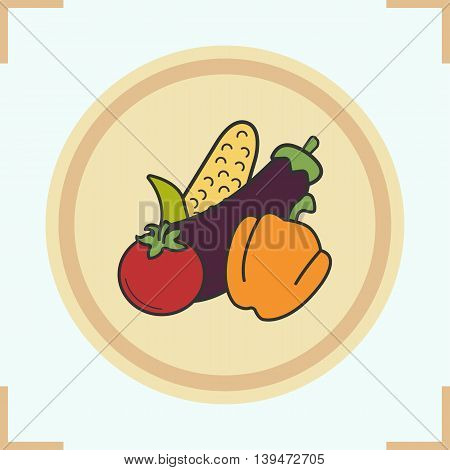 Vegetables color icon. Grocery store items. Corn, eggplant, bell pepper, tomato on wooden plate. Vector isolated illustration