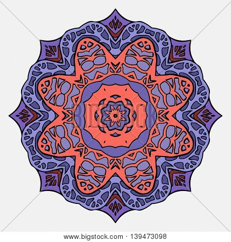 Circular stained glass mandala. Round doodle flower pattern for greeting cards and your creativity
