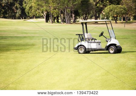 Alone golf buggy on the field