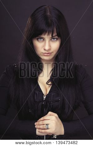Gothic woman in black jacket