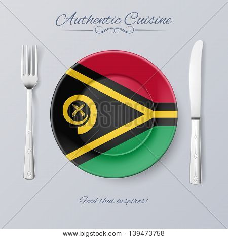 Authentic Cuisine of Vanuatu. Plate with Flag and Cutlery