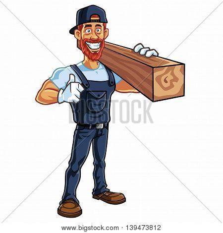 Carpenter Cartoon Mascot Vector Illustration