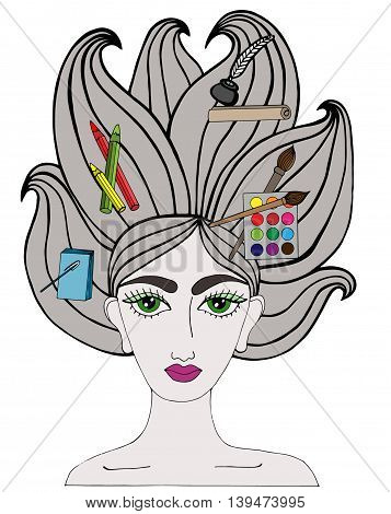 Colorful portrait of girl with art tool on the long hair. Notebook pen crayons feather and inks paper brushes paints on the hair. Multicolor art element for adult coloring book page design.