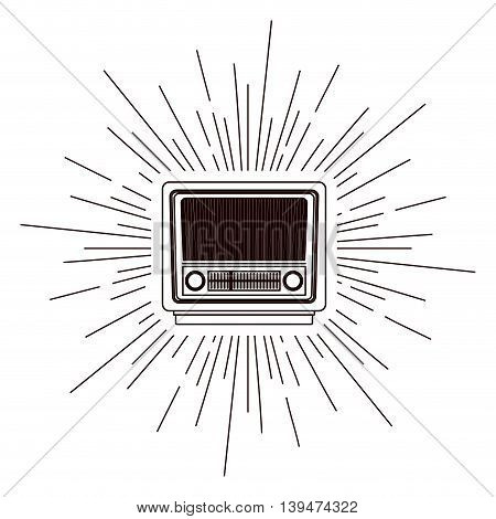 old radio poster over burst background isolated icon design, vector illustration  graphic