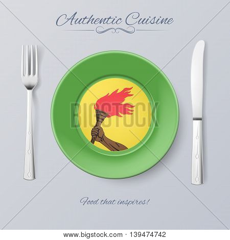 Authentic Cuisine of Zaire. Plate with Zairean Flag and Cutlery