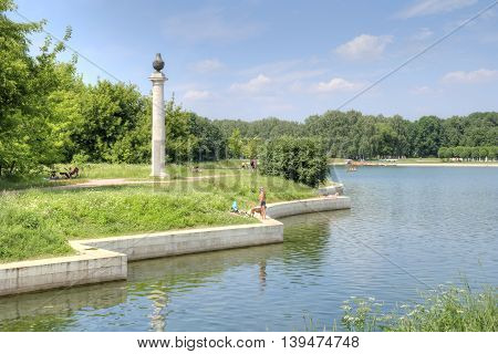 MOSCOW RUSSIA - June 25.2016: Large beautiful lake in Museum complex Kuskovo Graf Sheremetiev