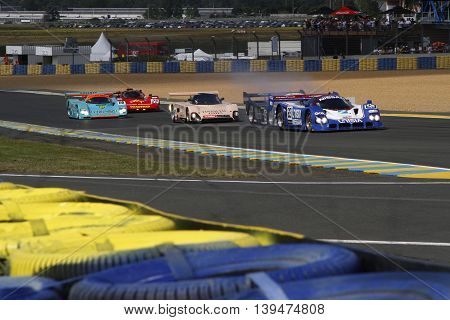 Le Mans, France, July 9, 2016 : A Race Starts During Le Mans Classic On The Circuit Of The 24 Hours.