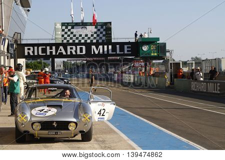 Le Mans, France, July 9, 2016 : Ferrari 250Gt In Pitlane During Le Mans Classic On The Circuit Of Th