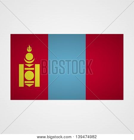 Mongolia flag on a gray background. Vector illustration