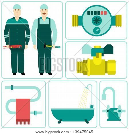 Vector flat icon water equipment. Equipment and household appliances for the kitchen, bathroom, heating. Plumbing tool. brochures, promotional materials, banners. Isolated on a white background