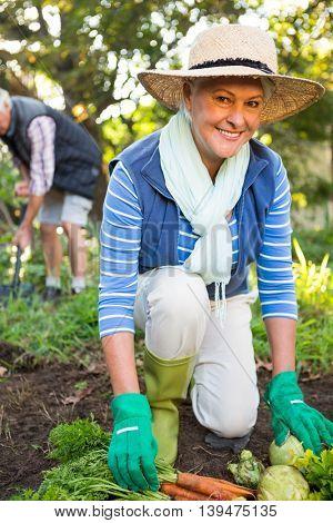 Portrait of happy mature female gardener with colleague working at garden