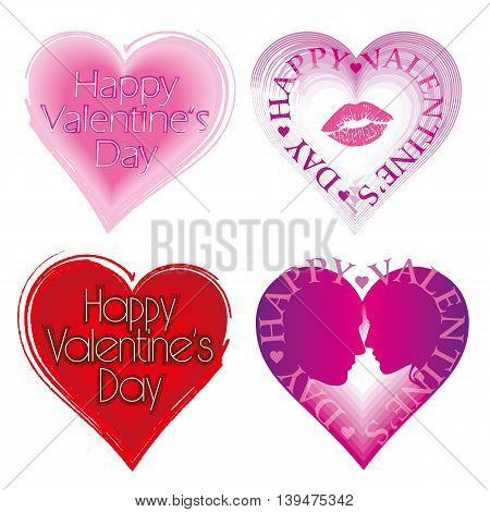 Valentine's Day Card set with hearts. Vector illustration.