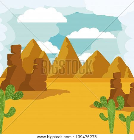 desert landscape isolated icon design, vector illustration  graphic