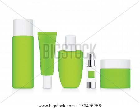 Group shot cosmetic container green color with white cap. For product container mock up