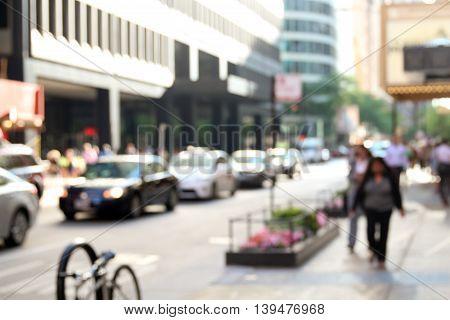 people in bokeh street of downtown. Urban city