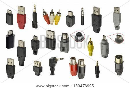 connectors for communication. plugs of different standards on a white background