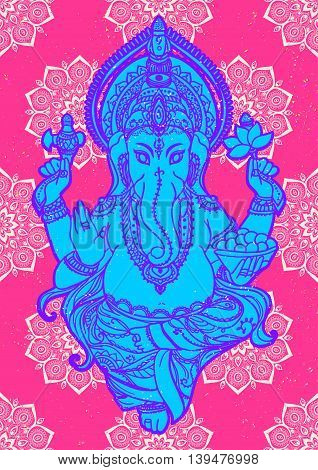 Ornament beautiful pattern with lord Ganesh image. God with elephant head. Illustration of Happy Ganesh Chaturthi. Invitation, greeting, birthday, holiday card. Indian traditional festival