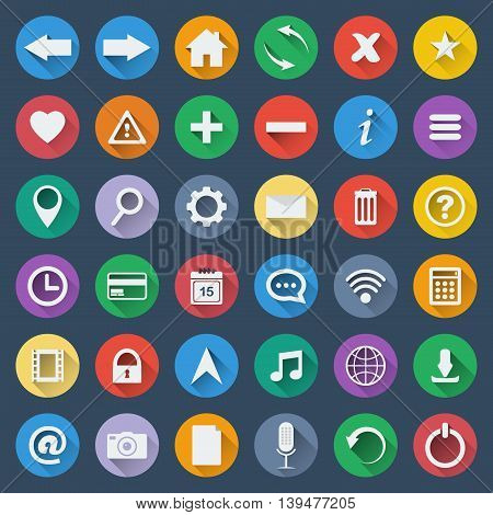 Set of 36 software vector icons and design elements