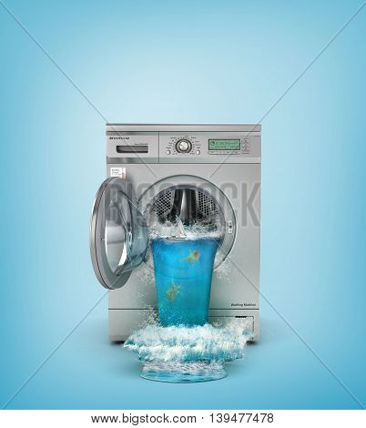 Concept of washing. Broken washing machine. The waterfall follows from open window of washing machine. 3d illustration
