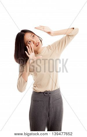Excited Young Asian Business Woman Look Up