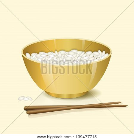 yellow bowl with rice and chopsticks on a light background