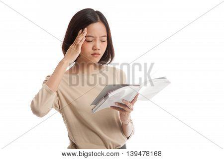 Young Asian Business Woman  Got Headache Read A Book