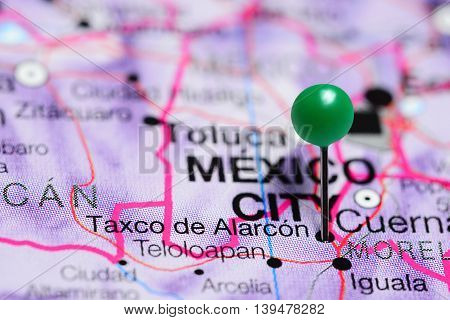 Taxco de Alarcon pinned on a map of Mexico