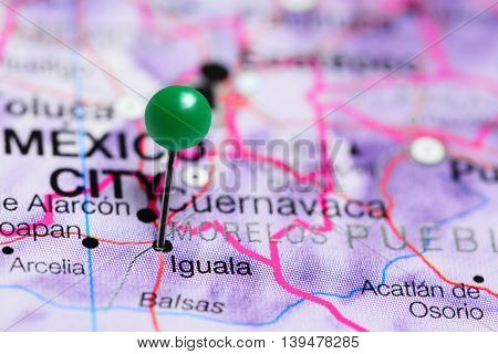 Iguala pinned on a map of Mexico