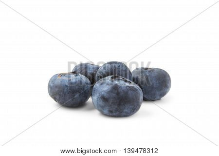 five blueberries isolated on white background food healthy sweet fruitgroup