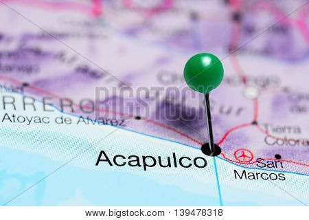 Acapulco pinned on a map of Mexico