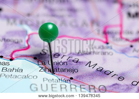 Zihuatanejo pinned on a map of Mexico