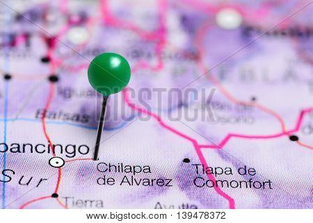 Chilapa de Alvarez pinned on a map of Mexico