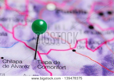 Tlapa de Comonfort pinned on a map of Mexico