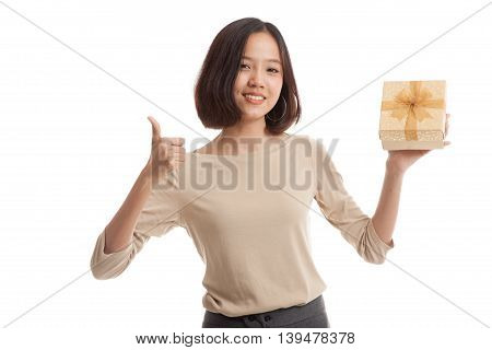 Asian Business Woman Thumbs Up With A Gift Box
