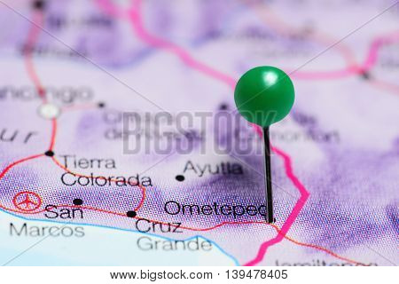 Ometepec pinned on a map of Mexico