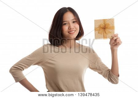 Young Asian Business Woman With A Gift Box