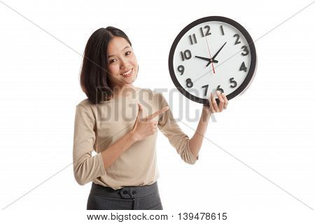 Young Asian Business Woman Point To A Clock