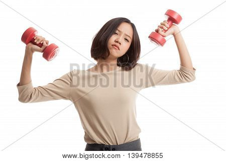 Exhausted Asian Business Woman With Dumbbells