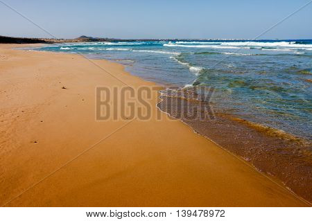 Vast empty beaches of Cape Verde Africa