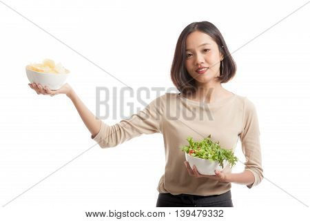 Young Asian Business Woman With Potato Chips And Salad