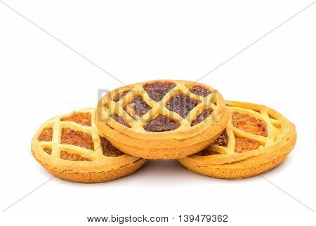 baked pie filling isolated on white background