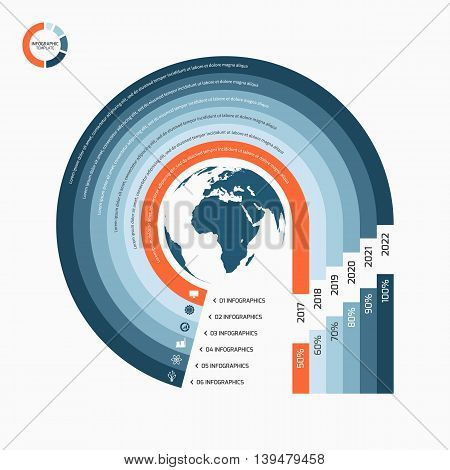 Circle Infographic Template With Globe With 6 Options, Parts, Steps, Processes For Graphs, Charts, D