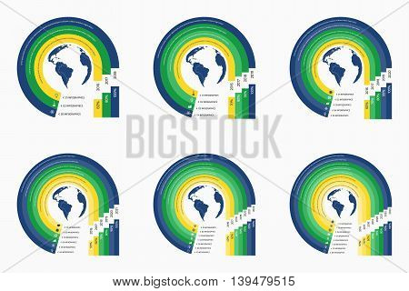 Circle Infographic Templates In Yellow Green Blue Colors With Globe With 3, 4, 5, 6, 7, 8 Options, P